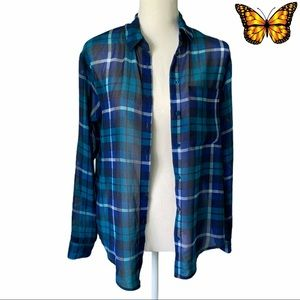 Garage Sheer Plaid Long Sleeve Size Extra Small